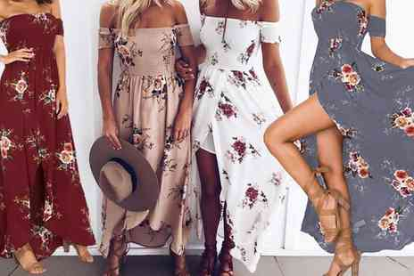 Groupon Goods Global GmbH - Floral Off Shoulder Maxi Dress - Save 0%