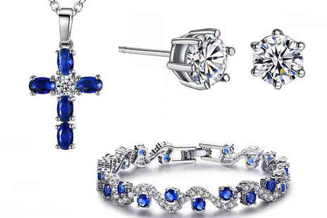 Your Ideal Gift - Swarovski Blue Sapphire Pendant, Bracelet And Earring Set - Save 87%