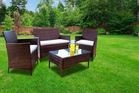 Dining Tables - Four piece durable polyrattan outdoor garden furniture set - Save 83%