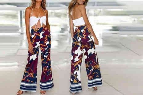 MBLogic - Pair of floral wide leg palazzo trousers choose from UK sizes 8 To 12 - Save 73%