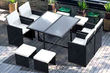 CN Direct Biz - Nine piece rattan dining set - Save 71%