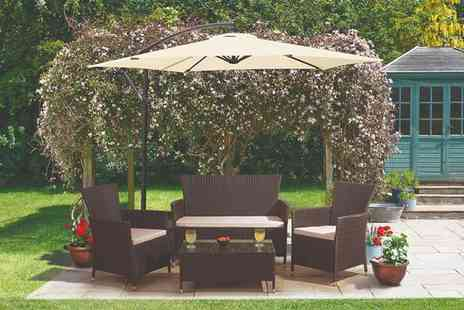 CJ Offers - Four seater durable polyrattan garden furniture set - Save 50%