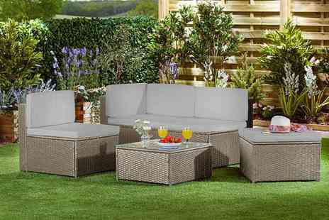 CJ Offers - Four seater durable polyrattan sofa set with cushion covers - Save 29%