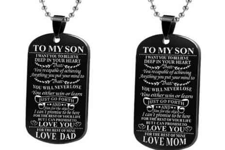 Groupon Goods Global GmbH - To Son or To Daughter Dog Tag Black Plated Necklace - Save 0%