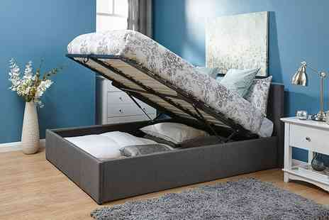 Groupon Goods Global GmbH - Kingsley Fabric Ottoman Bedframe with End or Side Lift and Optional Mattress - Save 0%
