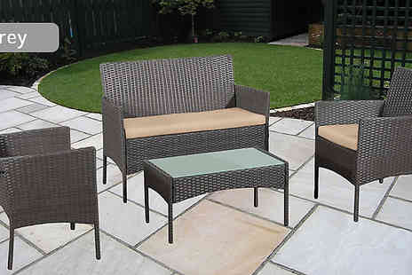 Bright Associates - Four Piece Outdoor Rattan Patio Furniture Set Choose from Three Colours - Save 82%