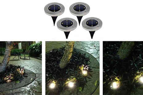 Good2items - 4 or 8 Led Solar Powered Ground Disk Lights Choose from Two Lights - Save 80%