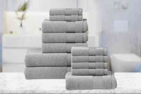 Fusion Online - Six piece luxury cotton towel set or from 12 piece towel set choose from 12 colours - Save 68%