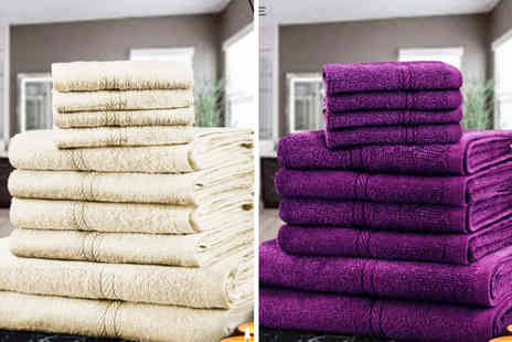 Fusion Online - 10 piece cotton towel bale choose from 12 colours - Save 75%