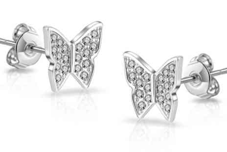 Groupon Goods Global GmbH - Philip Jones Crystal Butterfly Necklace, Pair of Earrings or Both - Save 86%