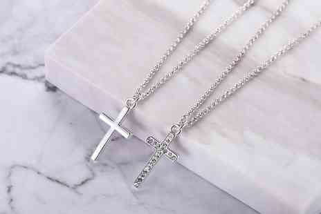 Groupon Goods Global GmbH - One or Two Philip Jones Cross Necklaces Plain, Pave with Crystals from Swarovski or Both - Save 0%