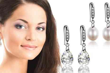 Groupon Goods Global GmbH - Sreema London Pave Drop Earrings - Save 0%