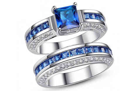 Your Ideal Gift - 2.5ct Created Sapphire Ring with Free Earrings in 2 Colours with Free Delivery - Save 95%