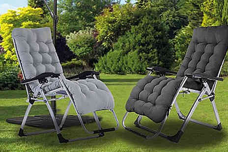 luxury bed and warehouse - Zero Gravity Foldable Reclining Chairs With Cushion Choose from 2 Colours - Save 58%