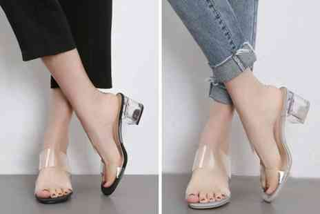 Wow What Who - Pair of clear block heel mules feel the love - Save 70%