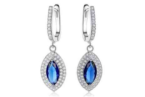 Your Ideal Gift - Pair of crystal embellished sapphire marquis drop earrings - Save 85%