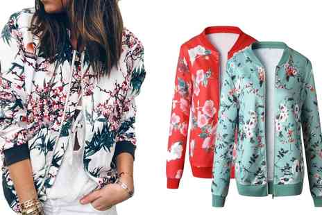 Groupon Goods Global GmbH - Floral Bomber Jacket - Save 0%