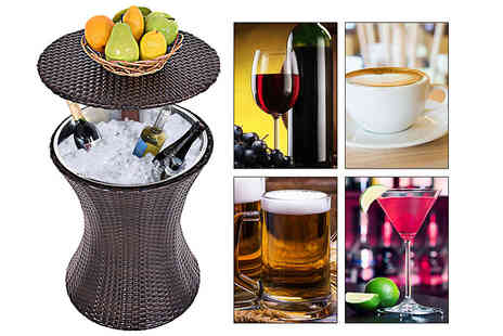 Costway - Rattan Drinks Table With Secret Ice Bucket Compartment - Save 73%