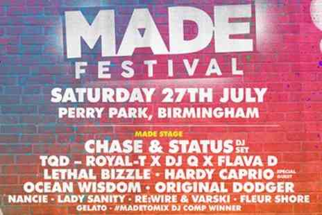 MADE Festival 2019 - One general admission ticket Chase and Status on 27th July - Save 10%