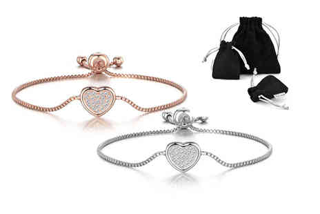 Philip Jones - Heart friendship bracelet made with crystals from Swarovski - Save 44%