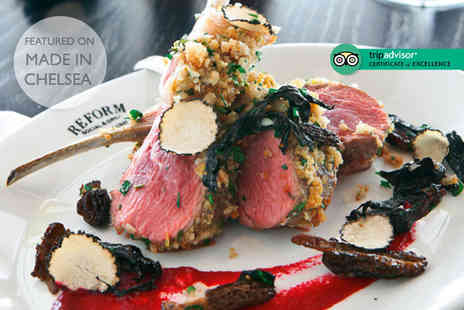 Reform Social and Grill - Two course dining for two people with a glass of wine each - Save 58%