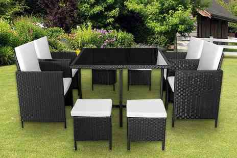 Direct Sourcing Project - Nine piece cube rattan furniture set choose from black and brown - Save 70%