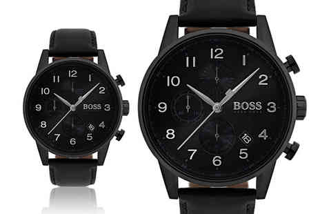 Best Watch Shop - Mens leather Hugo Boss black navigator HB1513497 chronograph watch - Save 60%