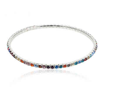 Your Ideal Gift - Multi coloured tennis ankle bracelet made with crystals from Swarovski - Save 0%