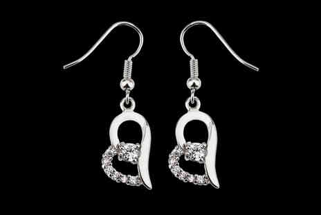 Your Ideal Gift - Pair of heart shaped earrings made with crystals from Swarovski - Save 0%
