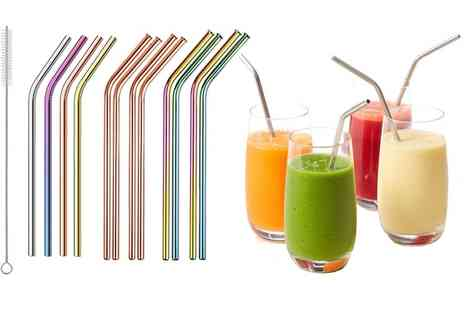 Groupon Goods Global GmbH - Up to Twelve Vivo Stainless Steel Reusable Straws - Save 0%