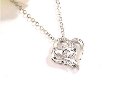 YelloGoods - Silver diamante love heart pendant necklace - Save 0%