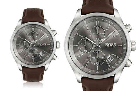 The Best Watch Shop - Mens Hugo Boss HB1513476 brown leather grand prix watch - Save 60%