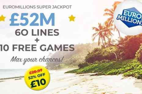 Lotto Social - 20 or 60 Syndicated EuroMillions Lines, Millionaire Makers and Instant Win Games - Save 43%