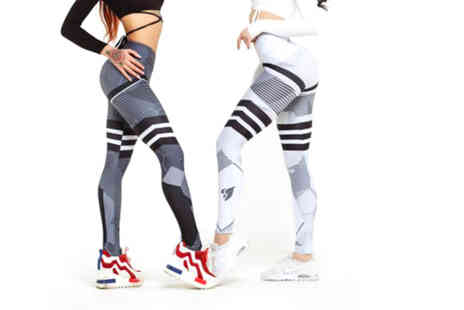 YelloGoods - Pair of women's high waisted shaping fitness leggings - Save 68%