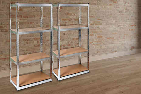 Eurotrade - Pair of galvanised racking shelves - Save 61%