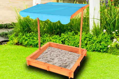 Who Needs Shops - Kids wooden sand pit with adjustable canopy - Save 73%