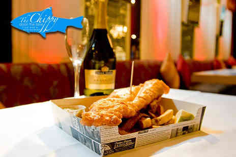 The Chippy Doon the Lane - Fish supper and tea or coffee for two people with a bottle of wine to share - Save 60%