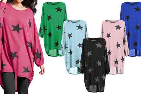 Groupon Goods Global GmbH - Star Print Oversized Top - Save 0%