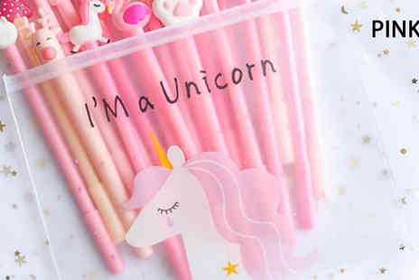 Hey4beauty - Unicorn Pencil Case with 20 Gel Pens Choose from 4 Colours - Save 70%