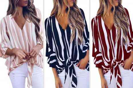 MBLogic - Striped bell sleeved shirt - Save 77%