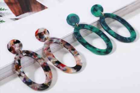 hey4beauty - Marble Hoop Earrings choose from 5 Colours - Save 90%