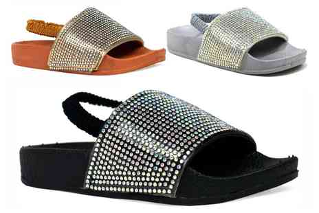 Groupon Goods Global GmbH - Kids Glitter Sliders with Elastic Backstrap - Save 0%