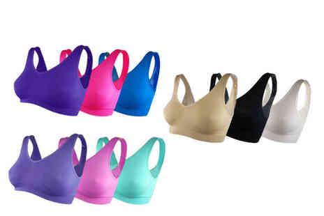 Direct Sourcing Project - Pack of six Cascabelle seamless bras choose from three colour sets and six sizes - Save 63%