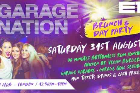 Garage Nation Brunch & Day Party - One day party only or all day brunch ticket from 31st August - Save 36%