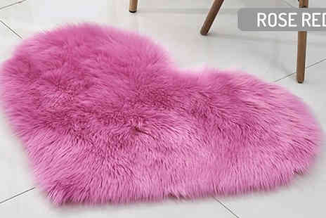 My Blu Fish - Fluffy Heart-Shaped Rug Choose from 7 Colours & 2 Sizes - Save 70%