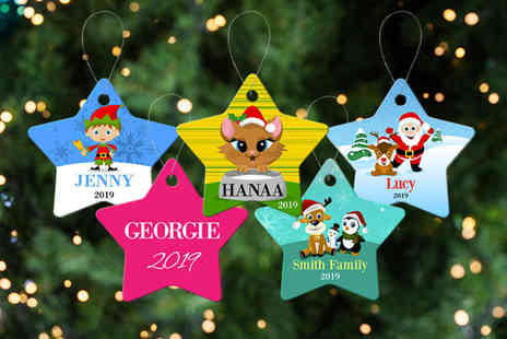 Dinkleboo - Personalised Christmas tree star decoration - Save 56%