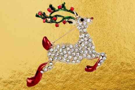 Solo Act - Festive dancing reindeer brooch - Save 83%