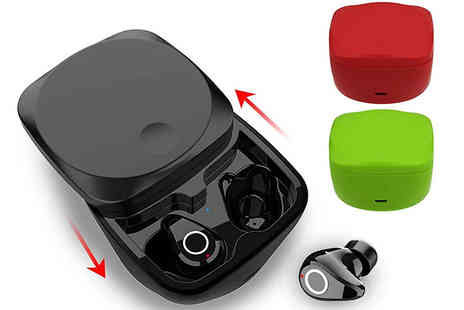 Domosecret - TWS Wireless Bluetooth Stereo Earphones With Charging Box Choose from 3 Colours - Save 84%