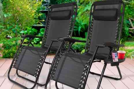 Groupon Goods Global GmbH - One or Two Zero Gravity Folding Chairs with Optional Sun Shade or Table - Save 75%