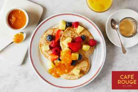 Cafe Rouge - Hot Breakfast with Drink or Hot Drink and Fruit Juice for Two - Save 30%